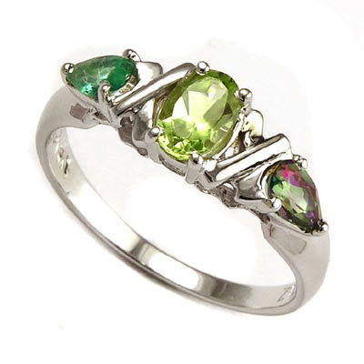 Mother's ring Peridot Emerald Mystic in 14k gold