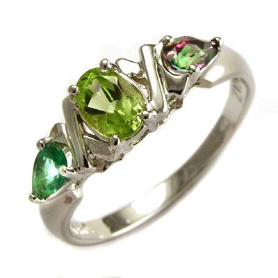 solid 14k gold ring peridot emerald mystic topaz