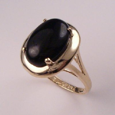 14k Gold Oval Onyx Ring