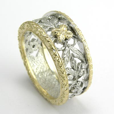 Anzor Jewelry 14k TwoTone Gold Filigree Ring brSALE SALE