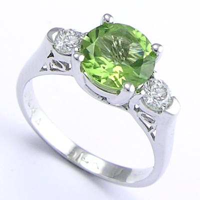 14k Gold Peridot Diamond Ring