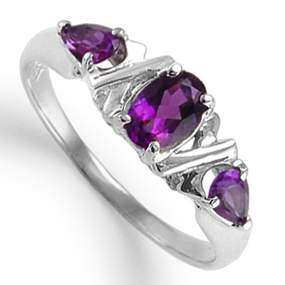 Mother's ring Three Stone Amethyst 14k