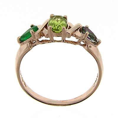 14k Rose Gold Emerald Peridot Mother's ring