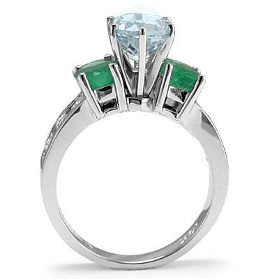 anzor jewelry 14k gold genuine aquamarine emerald and