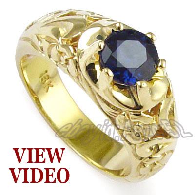 Anzor Jewelry Men s 18k Yellow Gold & 1 45ct Natural Sapphire