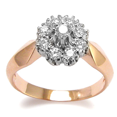 Russian Style 14k Rose & White Gold Diamond Ring