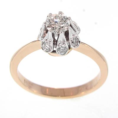 14k RUSSIAN JEWELRY Diamond Ring