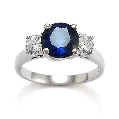Three-Stone Ceylon Sapphire and Diamond Ring 14K