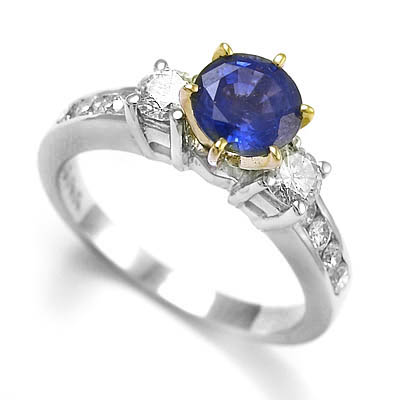 1 40 ct sapphire and 68 ct diamond engagement ring 14k w
