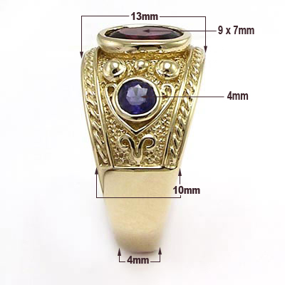 Men S Etruscan Byzantine Style Ring Iolite And Garnet 10k
