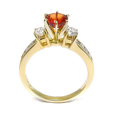 Orange Sapphire and Diamond 18k Gold Ring