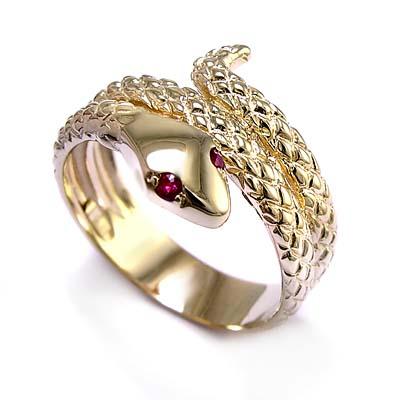 Mens Snake Ring Gold