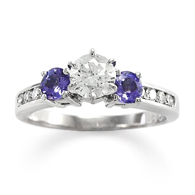 Tanzanite and Diamond Three Stone Ring in 14k
