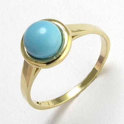14k Gold Genuine  Turquoise Ring