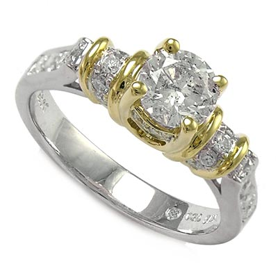 18k Two-Tone Gold Solitaire Diamond Engagement Ring