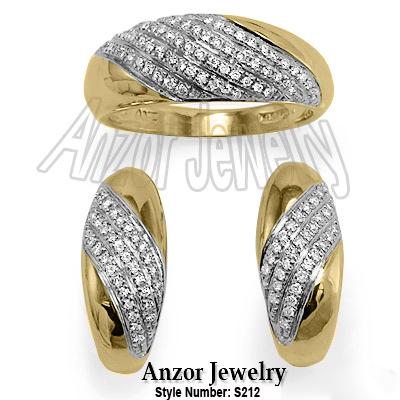 Russian Style Diamond Ring Earrings Set 585 14k