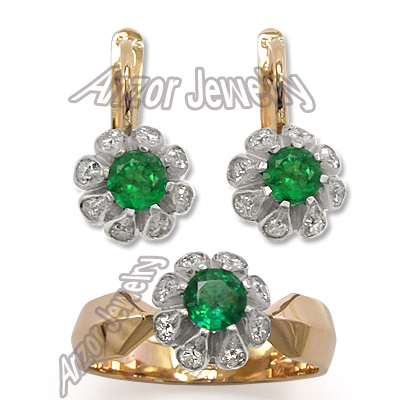 Russian Style Emerald 1.10 cwt Diamonds Set 14k
