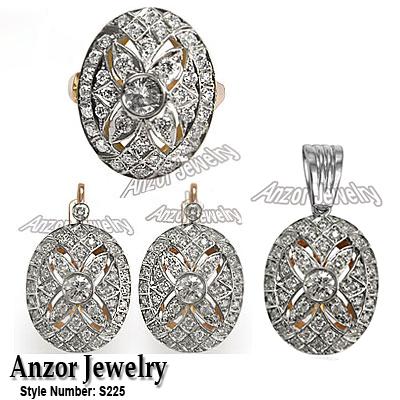 Russian Jewelry Diamond Set In 14k Earring Ring