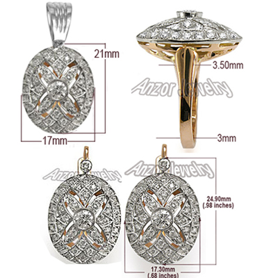 Russian Jewelry Diamond Set in 14k earring ring