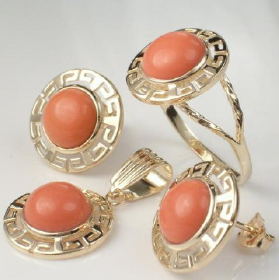 14K Gold Matching Coral Earrings, Pendant and Ring