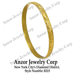 14k Gold Wide Slip-on Engraved Leaf Pattern Bangle