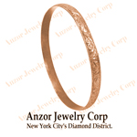 18k Rose Gold Wide Slip-on  Leaf Pattern Bangle