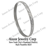14k White Gold Wide Slip-on  Leaf Pattern Bangle