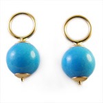 14k Gold Turquoise Charms 8mm