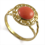 14k Gold Greek Coral Ring