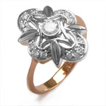Russian Jewelry 14k Rose & White Gold Diamond Ring