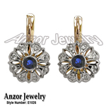 Russian Style Diamod & Sapphire Earrings 14k Gold