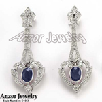 Russian Style Diamond Sapphire Earrings 585