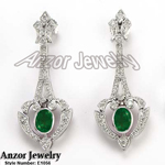 Russian Style Diamond Emerald Earrings 585