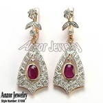 Russian Style Ruby Diamond Earrings 14K 585