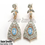 Russian Style Aquamarine Diamond Earrings 14K 585