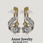 Russian Style Diamond Earrings 14k 585