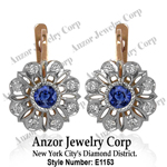 Russian style Sapphire & Diamond Earrings 14K