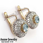 Russian Style Diamond & Aquamarine Earrings 585