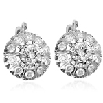 Russian Style White Sapphire Earrings 585