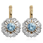 Russian Style Diamod & Aquamarine Earrings 14k