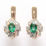 Russian Style Emerald & Diamond Earrings 585