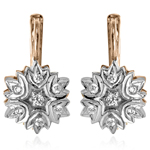 14k Rose Gold Diamond Russian style Earrings