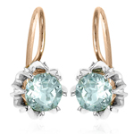 Russian Style Aquamarine Earrings in 14k Gold 585
