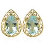 14K Gold Blue Aquamarine Earrings