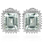 14k Russian Style Diamond and Aquamarine Earrings