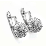 Old Russian Style Malinka Diamond Earrings 585