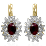 Russian Jewelry Ruby & Diamond Earrings 14K 585