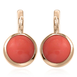 14k Solid Gold Coral Russian Style Earrings