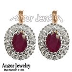 Russian Style Earrings Ruby and Diamond 585