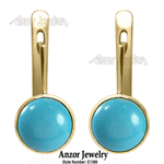 14k Gold Blue Turquoise Leverback Earrings
